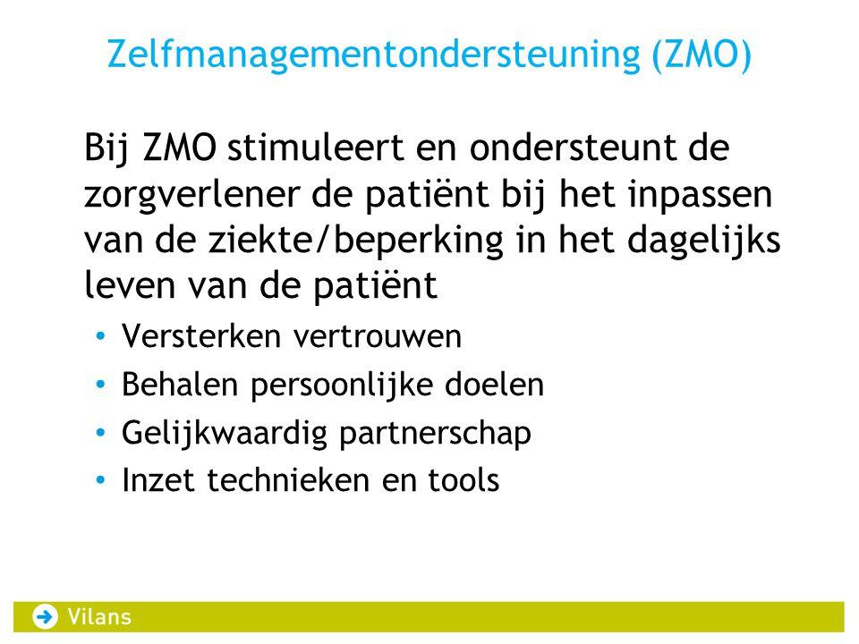 Zelfmanagementondersteuning (ZMO) Bij ZMO stimuleert en ondersteunt de zorgverlener de patiënt bij het inpassen van de ziekte/beperking in het dagelij