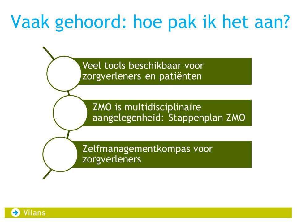 Vaak gehoord: hoe pak ik het aan? Veel tools beschikbaar voor zorgverleners en patiënten ZMO is multidisciplinaire aangelegenheid: Stappenplan ZMO Zel