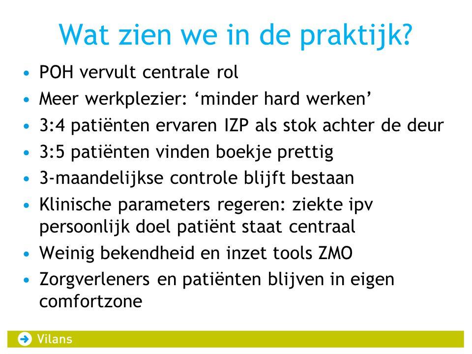 Wat zien we in de praktijk? •POH vervult centrale rol •Meer werkplezier: 'minder hard werken' •3:4 patiënten ervaren IZP als stok achter de deur •3:5