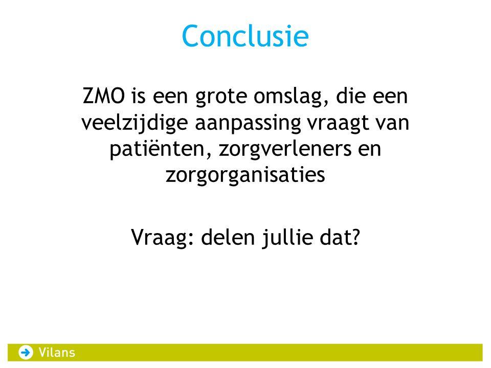 Conclusie ZMO is een grote omslag, die een veelzijdige aanpassing vraagt van patiënten, zorgverleners en zorgorganisaties Vraag: delen jullie dat?