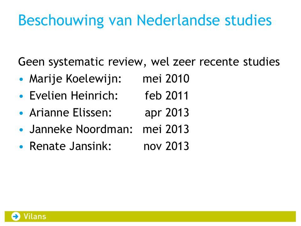 Beschouwing van Nederlandse studies Geen systematic review, wel zeer recente studies •Marije Koelewijn:mei 2010 •Evelien Heinrich:feb 2011 •Arianne El