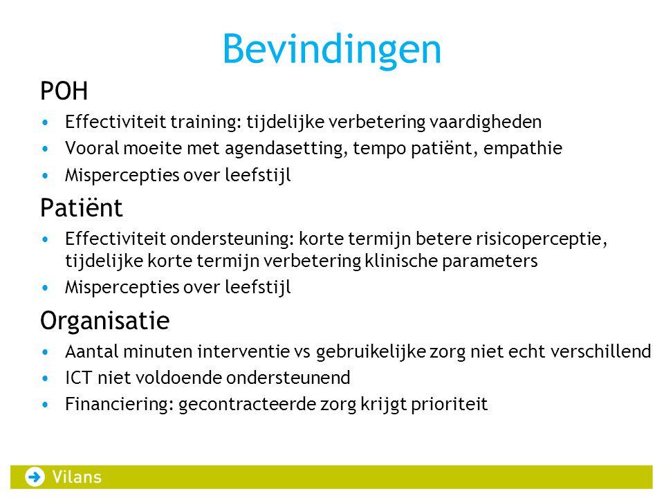 Bevindingen POH •Effectiviteit training: tijdelijke verbetering vaardigheden •Vooral moeite met agendasetting, tempo patiënt, empathie •Mispercepties
