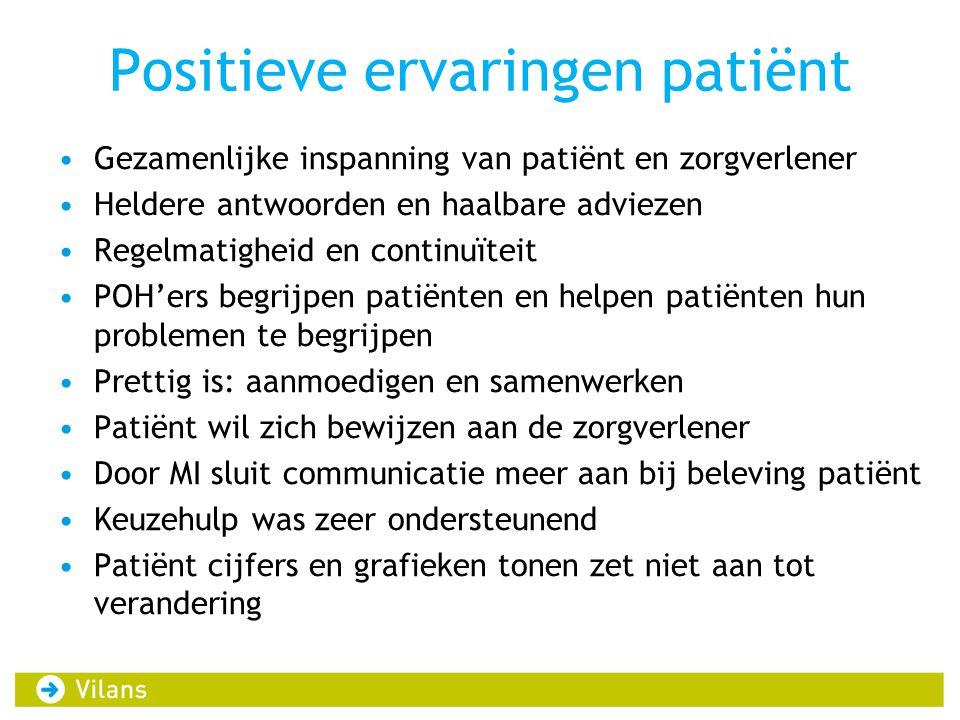 Positieve ervaringen patiënt •Gezamenlijke inspanning van patiënt en zorgverlener •Heldere antwoorden en haalbare adviezen •Regelmatigheid en continuï