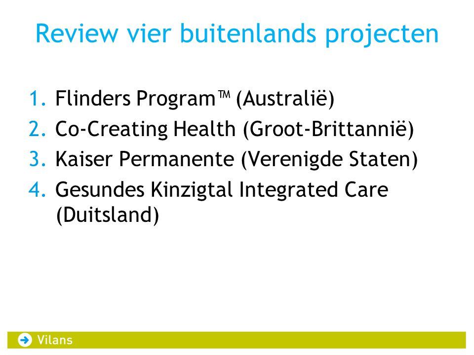 Review vier buitenlands projecten 1.Flinders Program™ (Australië) 2.Co-Creating Health (Groot-Brittannië) 3.Kaiser Permanente (Verenigde Staten) 4.Ges