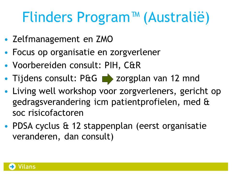 Flinders Program™ (Australië) •Zelfmanagement en ZMO •Focus op organisatie en zorgverlener •Voorbereiden consult: PIH, C&R •Tijdens consult: P&G zorgp