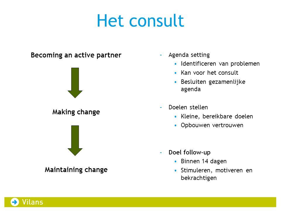 Het consult Becoming an active partner Making change Maintaining change –Agenda setting •Identificeren van problemen •Kan voor het consult •Besluiten