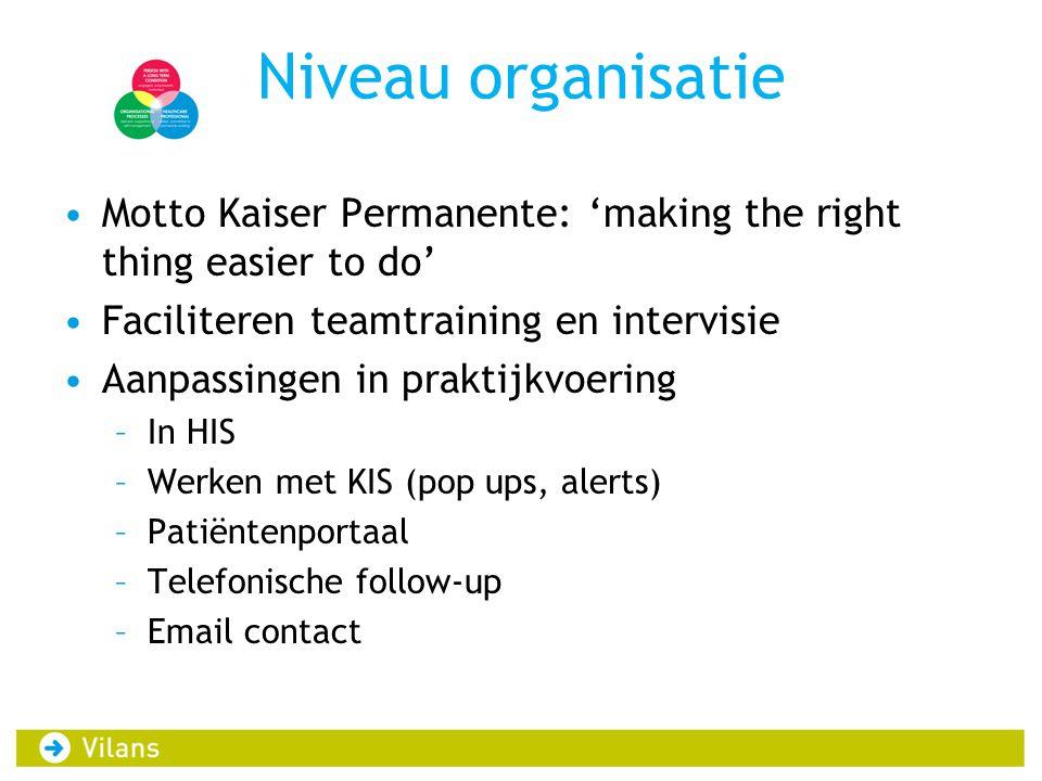 Niveau organisatie •Motto Kaiser Permanente: 'making the right thing easier to do' •Faciliteren teamtraining en intervisie •Aanpassingen in praktijkvo