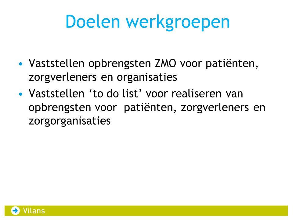Doelen werkgroepen •Vaststellen opbrengsten ZMO voor patiënten, zorgverleners en organisaties •Vaststellen 'to do list' voor realiseren van opbrengste