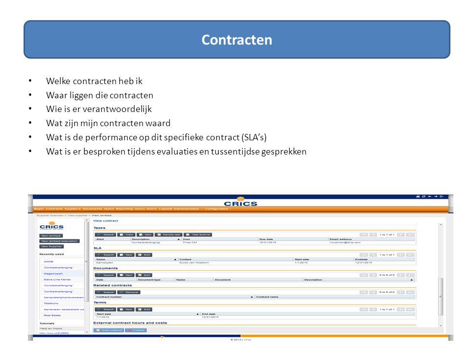 SLA's SLA • Wat hebben we afgesproken bij dit contract (KPI's) en in welke vorm.