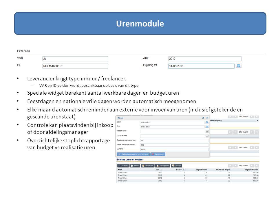Dashboards • Overzichtelijke rapportages over contracten, SLA's, taken en leveranciers • Rapportages eenvoudig te exporteren naar Excel • Eenvoudig procuratiesheets genereren vanuit het contract naar pdf Rapportage Voorbeeld ProcuratiesheetVoorbeeld Contractrapportage