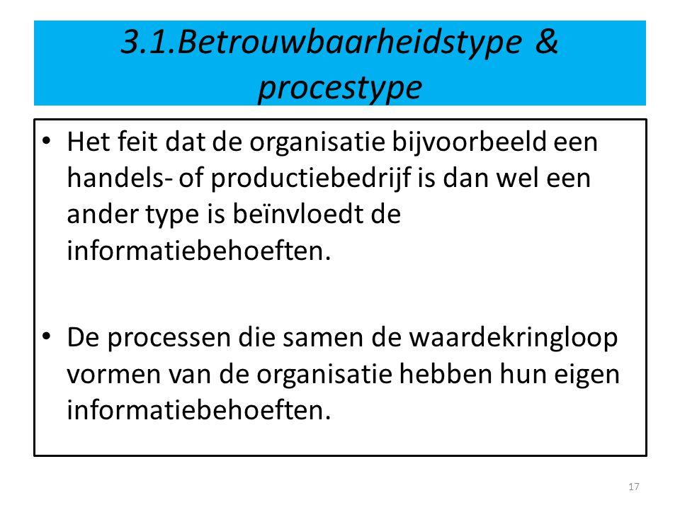 3.1.Betrouwbaarheidstype & procestype • Het feit dat de organisatie bijvoorbeeld een handels- of productiebedrijf is dan wel een ander type is beïnvlo
