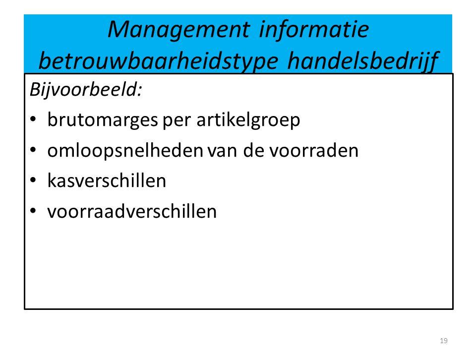 Management informatie betrouwbaarheidstype handelsbedrijf Bijvoorbeeld: • brutomarges per artikelgroep • omloopsnelheden van de voorraden • kasverschi