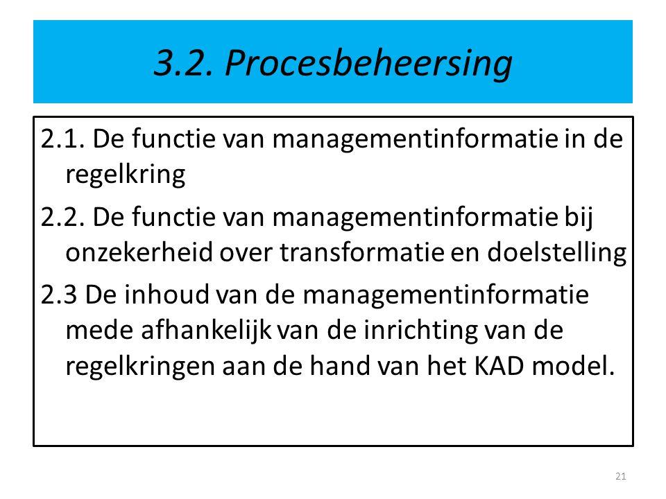 3.2. Procesbeheersing 2.1. De functie van managementinformatie in de regelkring 2.2. De functie van managementinformatie bij onzekerheid over transfor