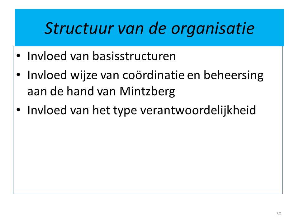 Structuur van de organisatie • Invloed van basisstructuren • Invloed wijze van coördinatie en beheersing aan de hand van Mintzberg • Invloed van het t