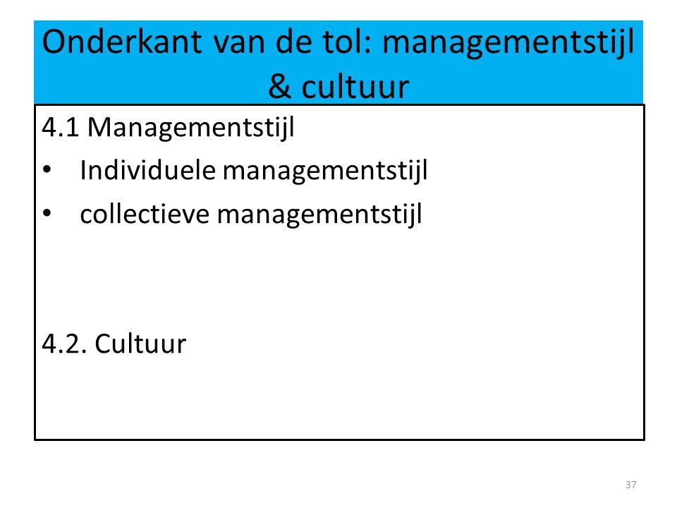 Onderkant van de tol: managementstijl & cultuur 4.1 Managementstijl • Individuele managementstijl • collectieve managementstijl 4.2. Cultuur 37