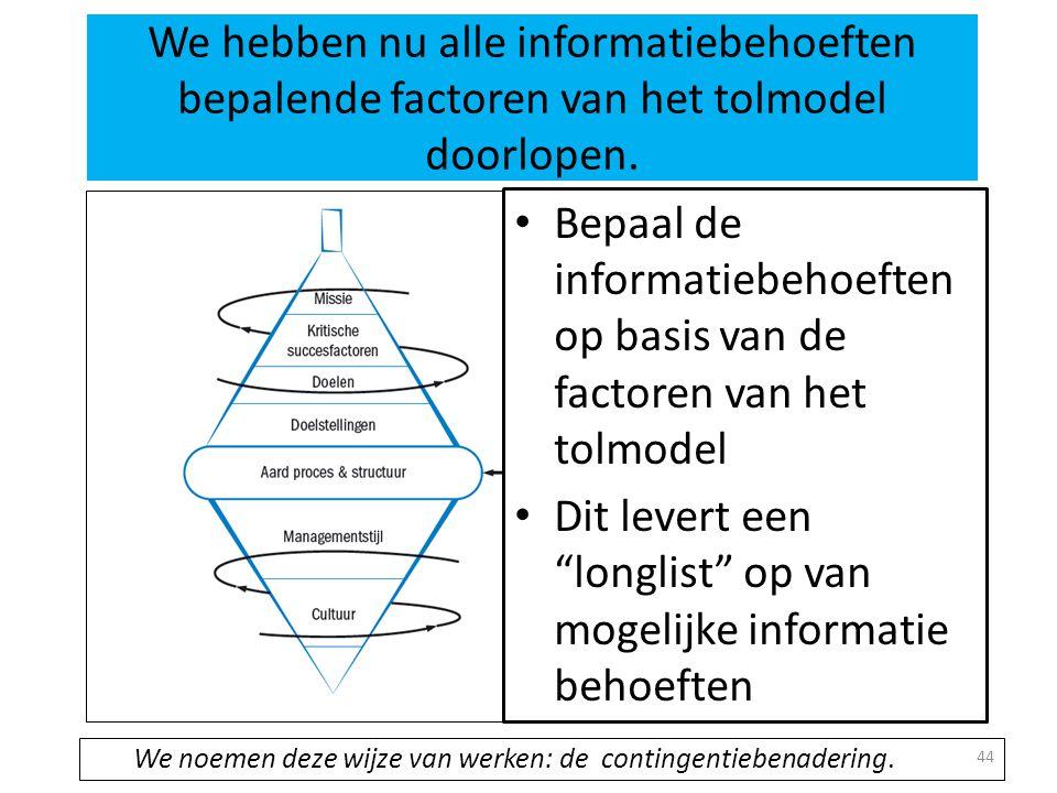44 We hebben nu alle informatiebehoeften bepalende factoren van het tolmodel doorlopen. • Bepaal de informatiebehoeften op basis van de factoren van h