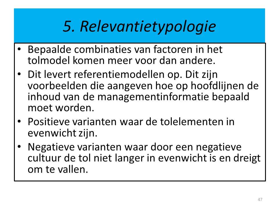 5. Relevantietypologie • Bepaalde combinaties van factoren in het tolmodel komen meer voor dan andere. • Dit levert referentiemodellen op. Dit zijn vo