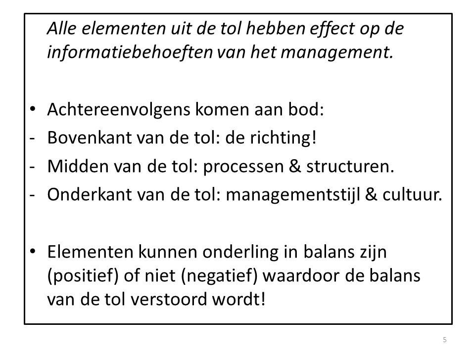 Alle elementen uit de tol hebben effect op de informatiebehoeften van het management. • Achtereenvolgens komen aan bod: -Bovenkant van de tol: de rich