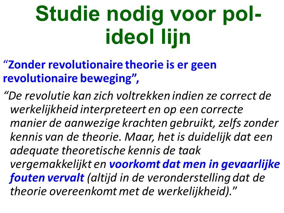 """Studie nodig voor pol- ideol lijn """"Zonder revolutionaire theorie is er geen revolutionaire beweging"""", """"De revolutie kan zich voltrekken indien ze corr"""