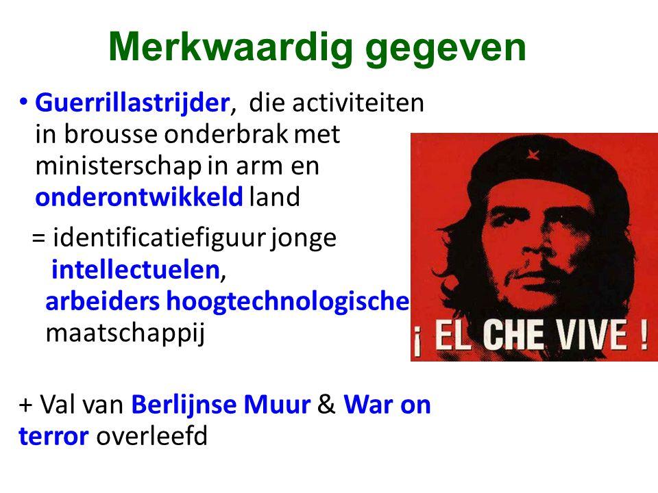 Merkwaardig gegeven • Guerrillastrijder, die activiteiten in brousse onderbrak met ministerschap in arm en onderontwikkeld land = identificatiefiguur