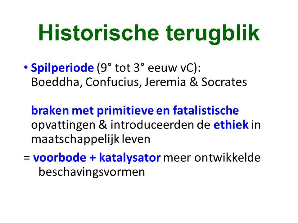 Historische terugblik • Spilperiode (9° tot 3° eeuw vC): Boeddha, Confucius, Jeremia & Socrates braken met primitieve en fatalistische opvattingen & i