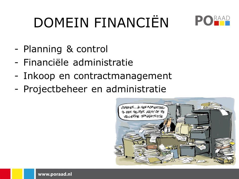 DOMEIN FINANCIËN -Planning & control -Financiële administratie -Inkoop en contractmanagement -Projectbeheer en administratie