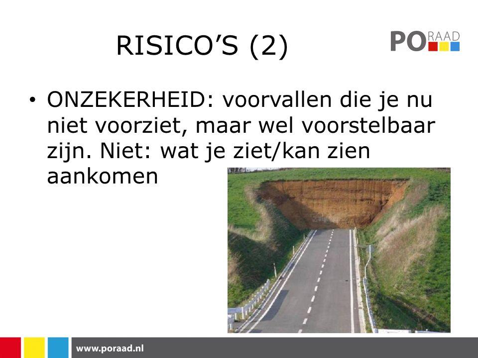 RISICO'S (2) • ONZEKERHEID: voorvallen die je nu niet voorziet, maar wel voorstelbaar zijn.