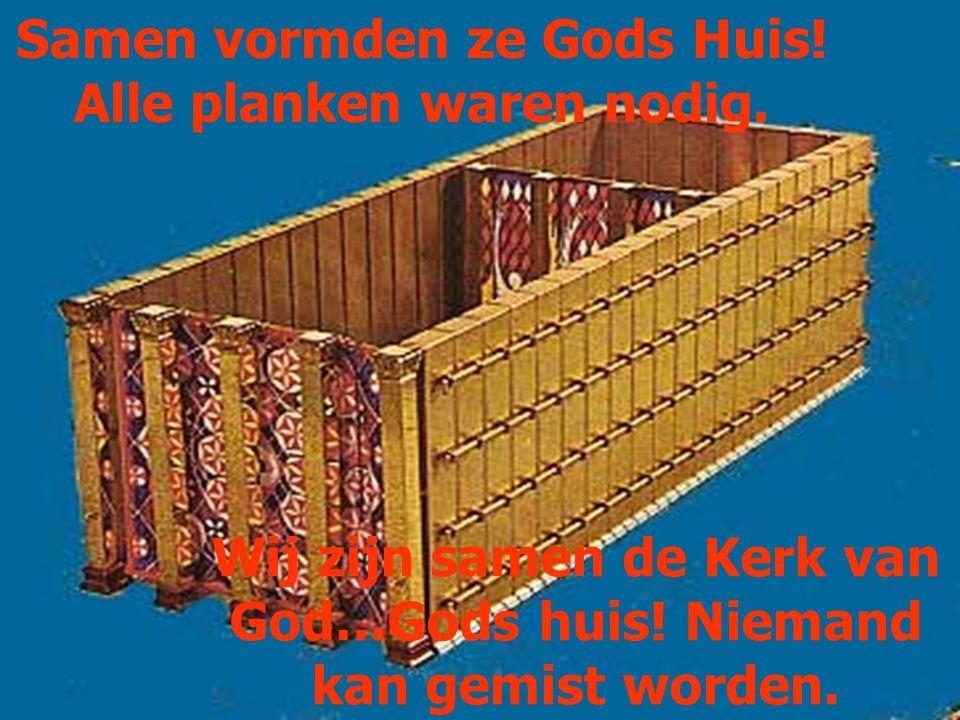 Samen vormden ze Gods Huis! Alle planken waren nodig. Wij zijn samen de Kerk van God…Gods huis! Niemand kan gemist worden.