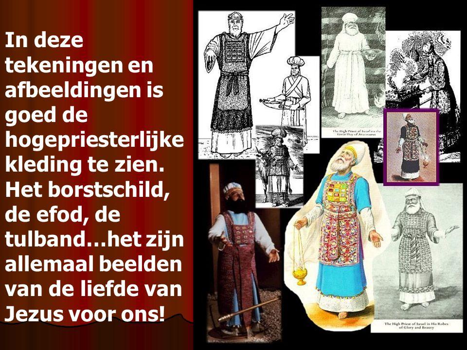 In deze tekeningen en afbeeldingen is goed de hogepriesterlijke kleding te zien. Het borstschild, de efod, de tulband…het zijn allemaal beelden van de