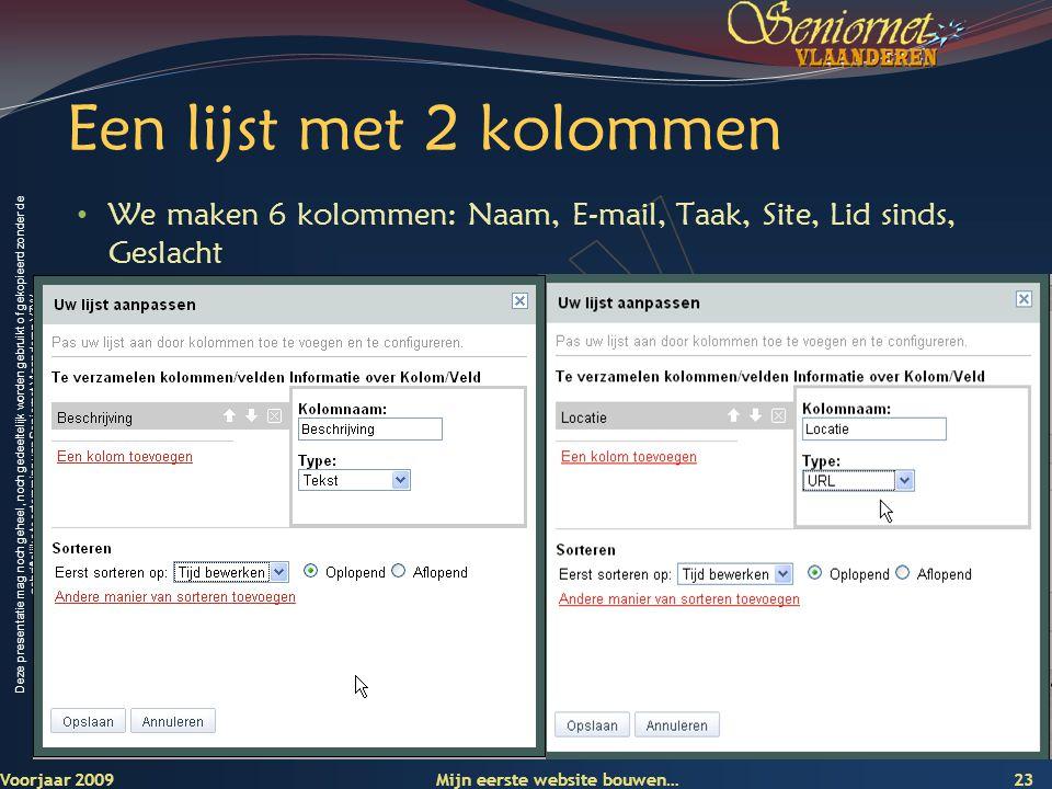 Deze presentatie mag noch geheel, noch gedeeltelijk worden gebruikt of gekopieerd zonder de schriftelijke toestemming van Seniornet Vlaanderen VZW Een lijst met 2 kolommen Voorjaar 2009 Mijn eerste website bouwen… 23 • We maken 6 kolommen: Naam, E-mail, Taak, Site, Lid sinds, Geslacht