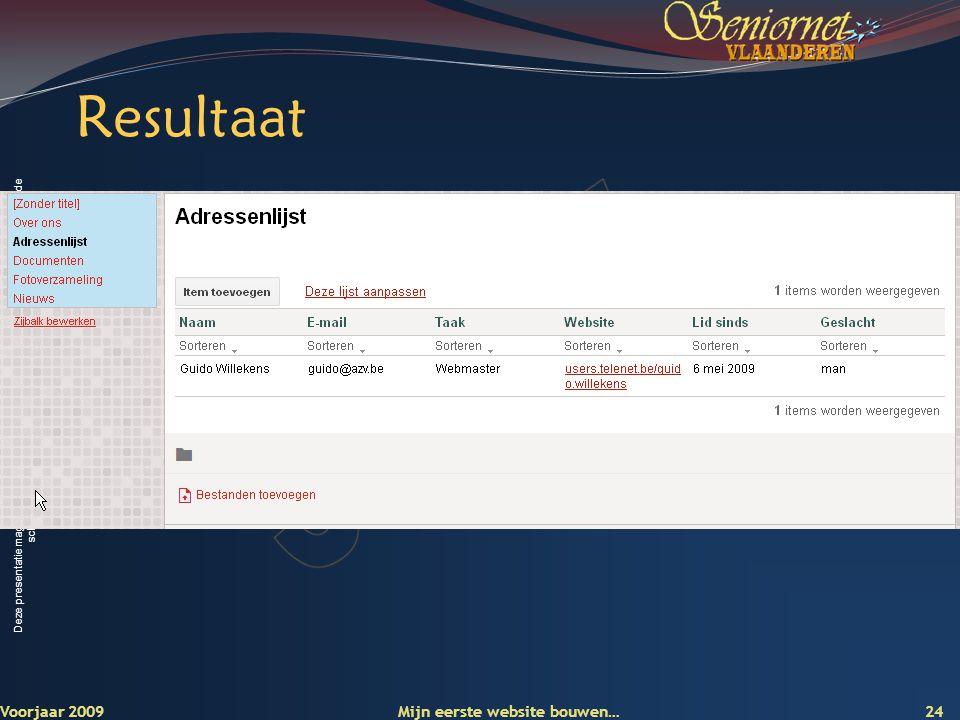 Deze presentatie mag noch geheel, noch gedeeltelijk worden gebruikt of gekopieerd zonder de schriftelijke toestemming van Seniornet Vlaanderen VZW Resultaat Voorjaar 2009 Mijn eerste website bouwen… 24