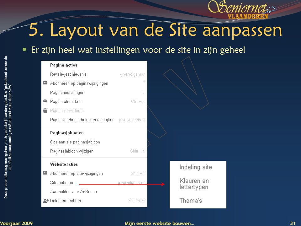 Deze presentatie mag noch geheel, noch gedeeltelijk worden gebruikt of gekopieerd zonder de schriftelijke toestemming van Seniornet Vlaanderen VZW 5.