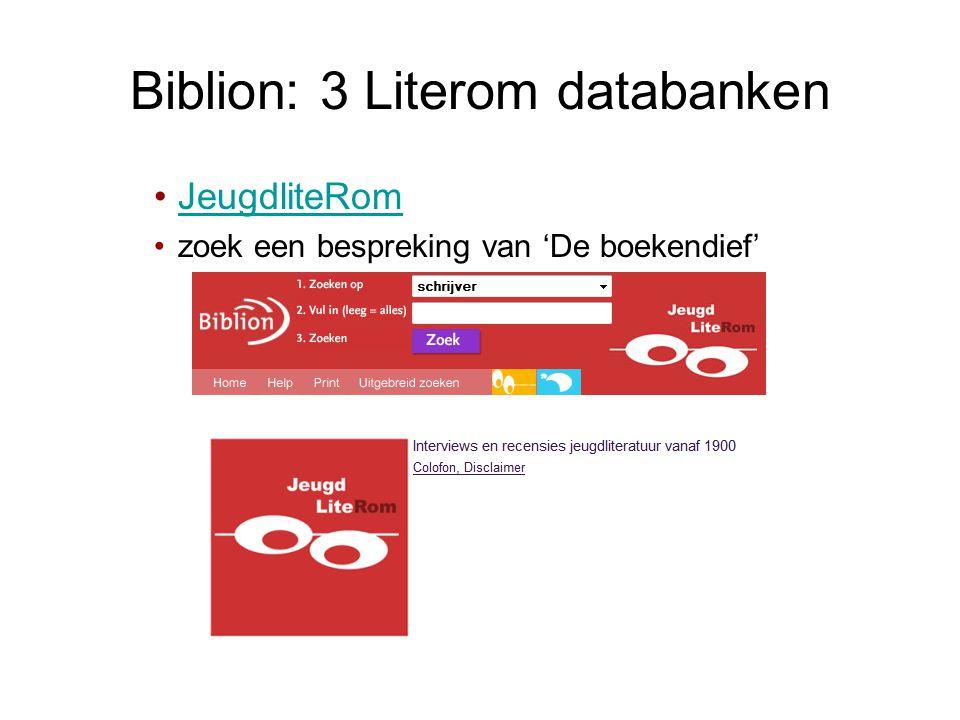 Biblion: 3 Literom databanken •JeugdliteRomJeugdliteRom •zoek een bespreking van 'De boekendief'