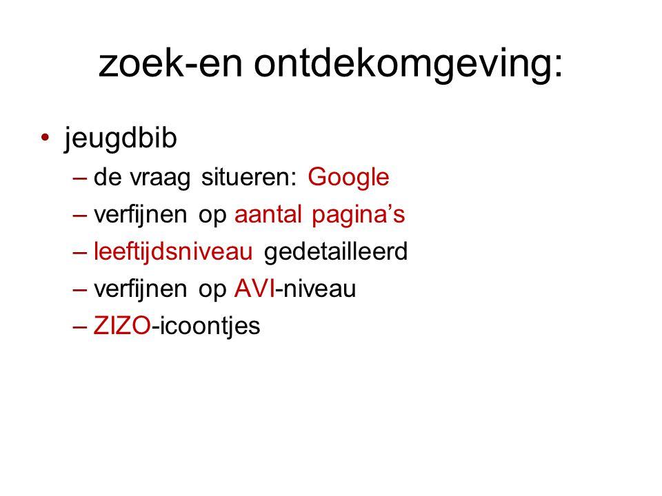 zoek-en ontdekomgeving: •jeugdbib –de vraag situeren: Google –verfijnen op aantal pagina's –leeftijdsniveau gedetailleerd –verfijnen op AVI-niveau –ZIZO-icoontjes