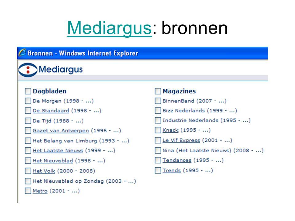 MediargusMediargus: bronnen