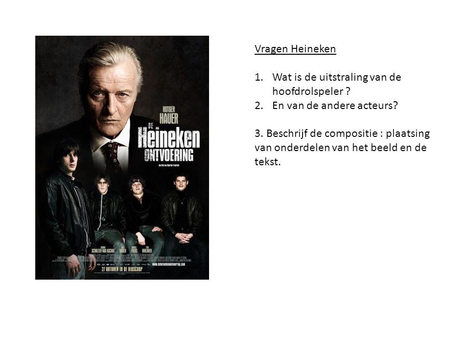 Vragen Heineken 1.Wat is de uitstraling van de hoofdrolspeler ? 2.En van de andere acteurs? 3. Beschrijf de compositie : plaatsing van onderdelen van