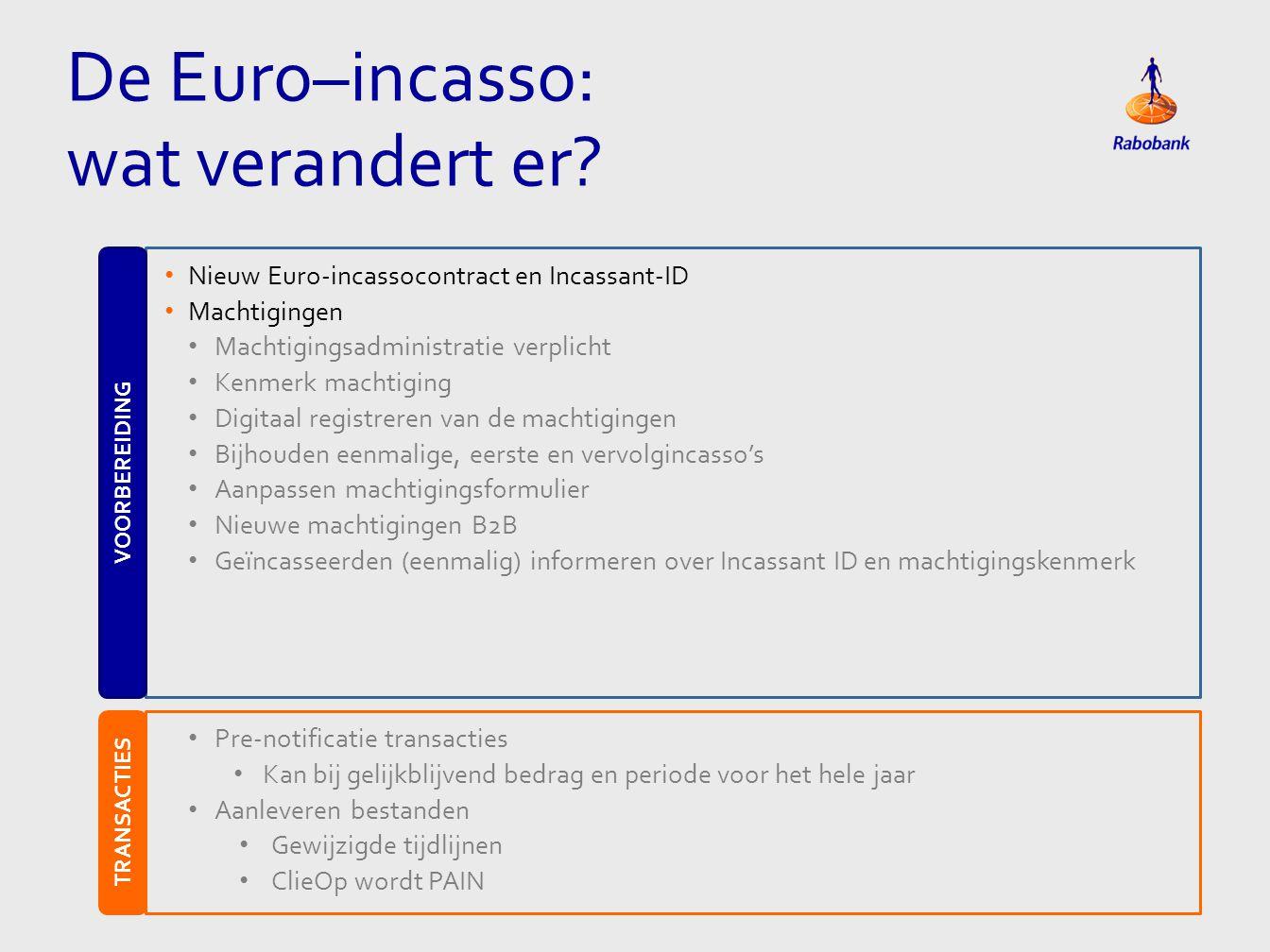 • Nieuw Euro-incassocontract en Incassant-ID • Machtigingen • Machtigingsadministratie verplicht • Kenmerk machtiging • Digitaal registreren van de ma