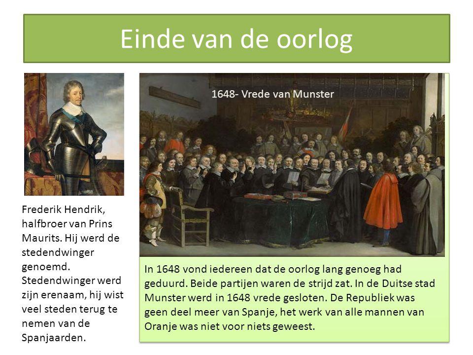 Einde van de oorlog Frederik Hendrik, halfbroer van Prins Maurits.