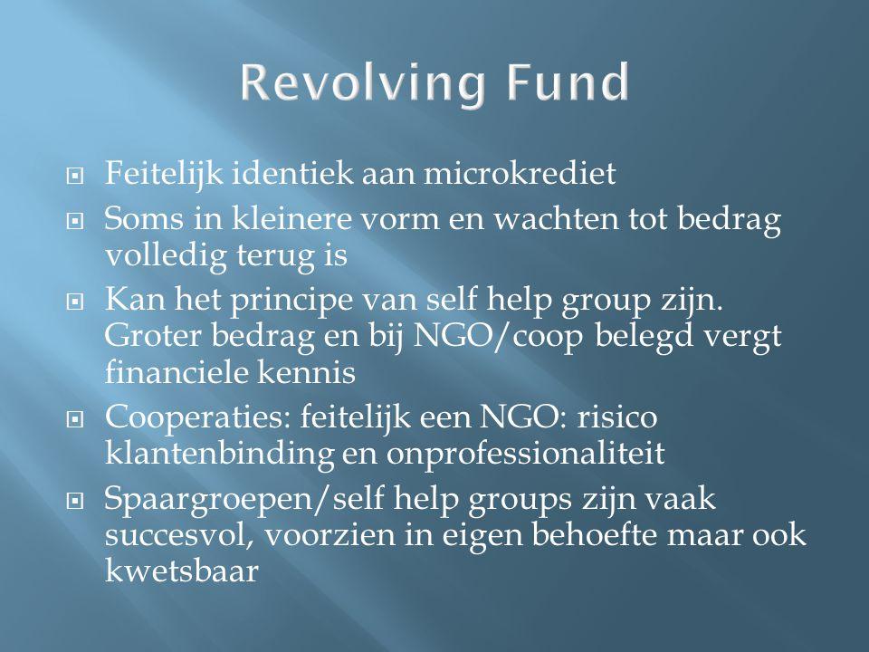 Revolving Fund  Feitelijk identiek aan microkrediet  Soms in kleinere vorm en wachten tot bedrag volledig terug is  Kan het principe van self help group zijn.