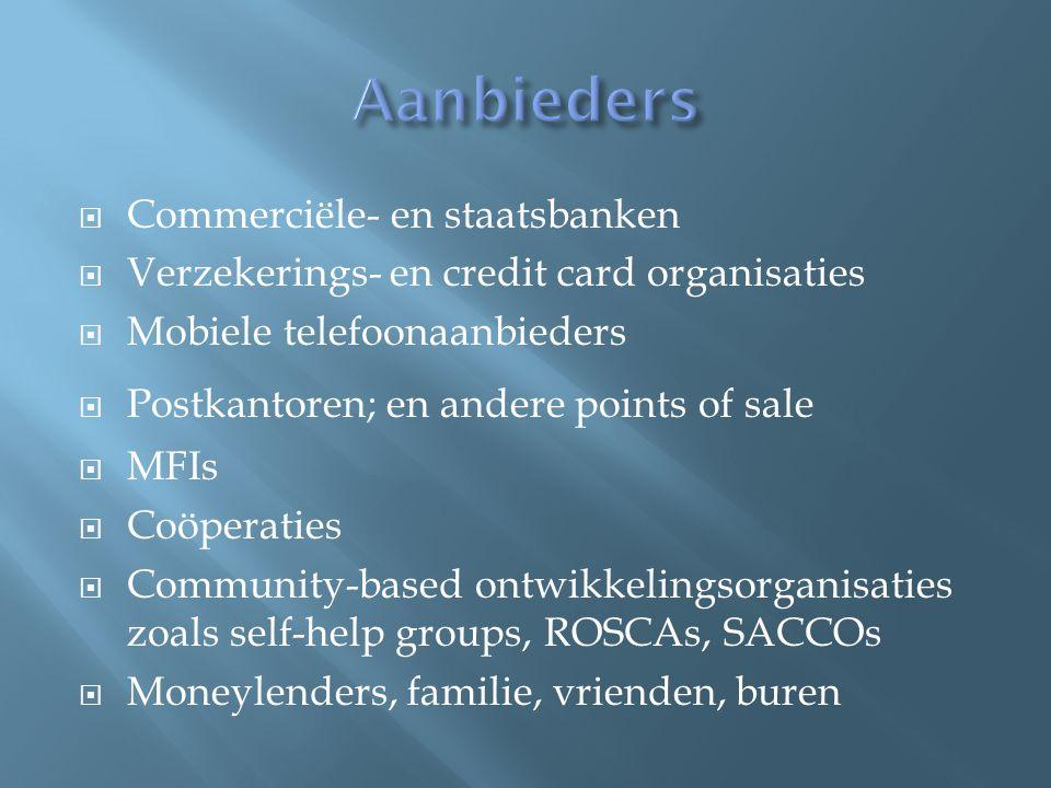  Commerciële- en staatsbanken  Verzekerings- en credit card organisaties  Mobiele telefoonaanbieders  Postkantoren; en andere points of sale  MFIs  Coöperaties  Community-based ontwikkelingsorganisaties zoals self-help groups, ROSCAs, SACCOs  Moneylenders, familie, vrienden, buren