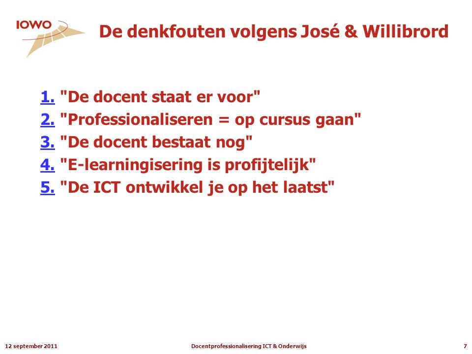 12 september 2011Docentprofessionalisering ICT & Onderwijs7 De denkfouten volgens José & Willibrord 1.1.