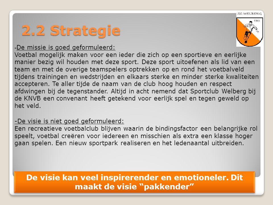 2.2 Strategie - De missie is goed geformuleerd: Voetbal mogelijk maken voor een ieder die zich op een sportieve en eerlijke manier bezig wil houden me