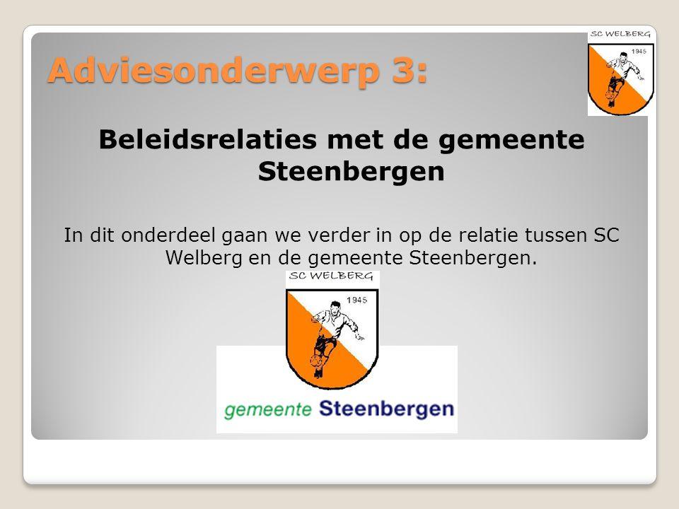 Adviesonderwerp 3: Beleidsrelaties met de gemeente Steenbergen In dit onderdeel gaan we verder in op de relatie tussen SC Welberg en de gemeente Steen