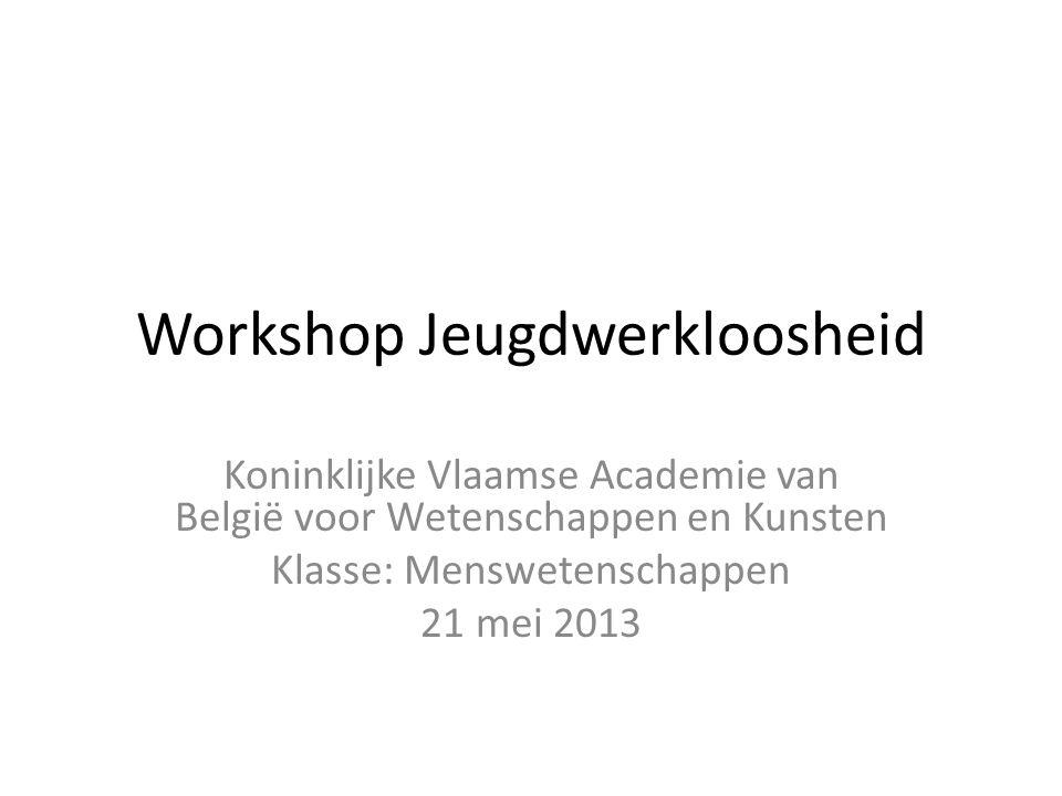 Workshop Jeugdwerkloosheid Koninklijke Vlaamse Academie van België voor Wetenschappen en Kunsten Klasse: Menswetenschappen 21 mei 2013