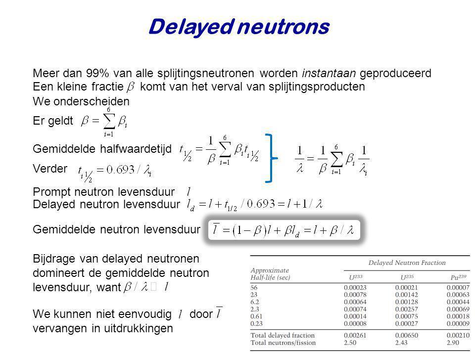 Bijdrage van delayed neutronen domineert de gemiddelde neutron levensduur, want Een kleine fractie komt van het verval van splijtingsproducten Delayed