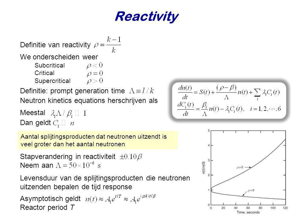 Neutron kinetics equations herschrijven als Reactivity Definitie van reactivity Definitie: prompt generation time Aantal splijtingsproducten dat neutr
