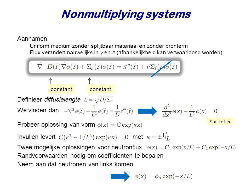 Nonmultiplying systems Aannamen Uniform medium zonder splijtbaar materiaal en zonder bronterm Flux verandert nauwelijks in y en z (afhankelijkheid kan