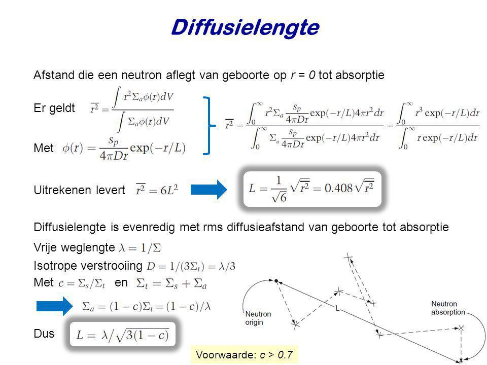 Diffusielengte Afstand die een neutron aflegt van geboorte op r = 0 tot absorptie Er geldt Met Uitrekenen levert Diffusielengte is evenredig met rms d