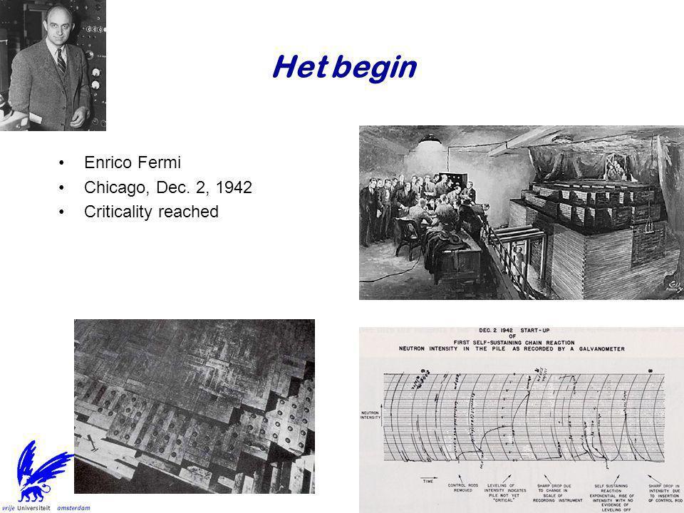 Het begin •Enrico Fermi •Chicago, Dec. 2, 1942 •Criticality reached