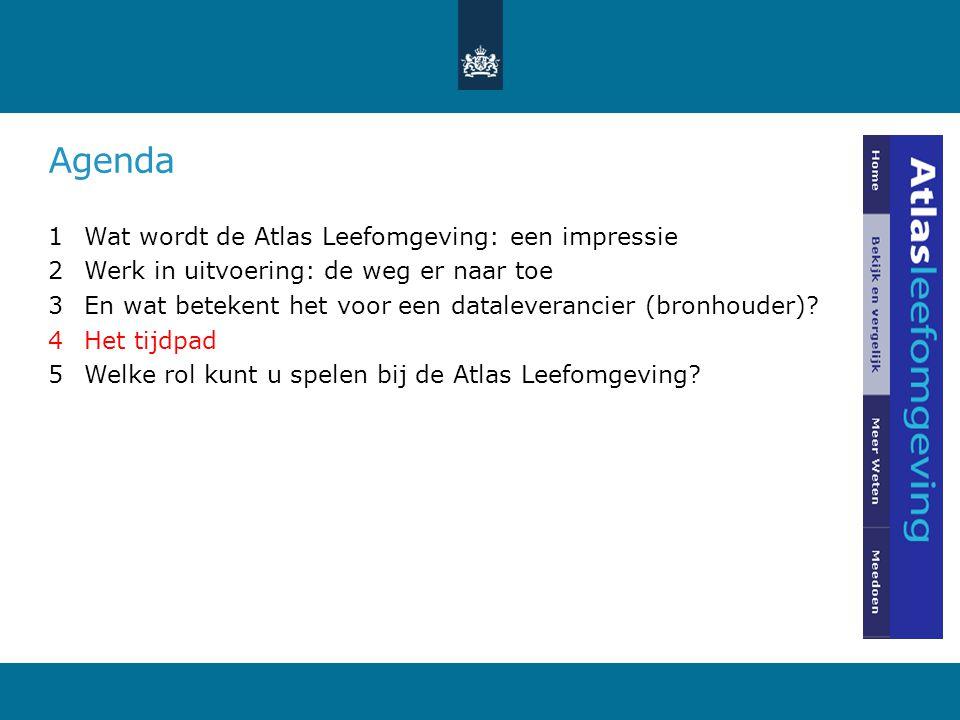 Agenda 1Wat wordt de Atlas Leefomgeving: een impressie 2Werk in uitvoering: de weg er naar toe 3En wat betekent het voor een dataleverancier (bronhouder).
